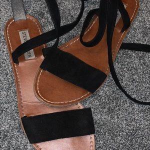 Black Steve Madden Suede Wrap up sandals